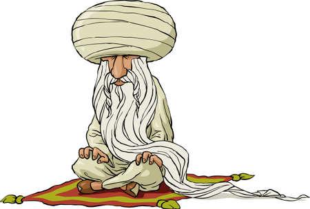 Sage oriental sur un fond blanc, vecteur