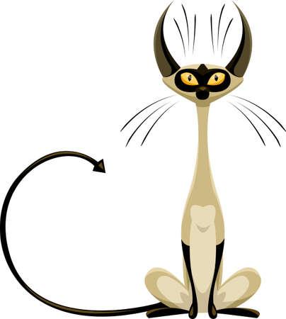 siamese: Siamesische Katze auf einem wei�en Hintergrund, Vektor