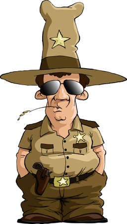 cop: Sheriff on a white background Illustration