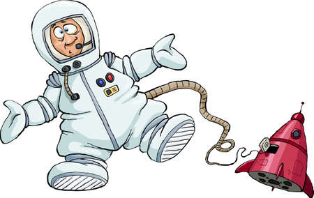 missiles: Astronaut on a white background, illustration