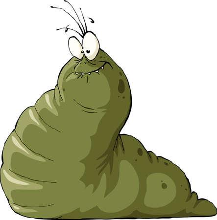 cartoon larva: Slug on a white background, illustration