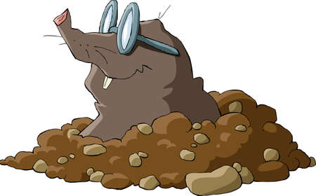 ground: A mole wearing glasses and a hole