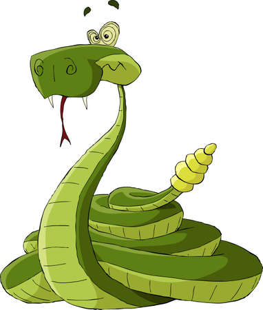 serpiente caricatura: Cascabel sobre un fondo blanco
