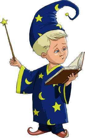The young wizard on a white background Illustration