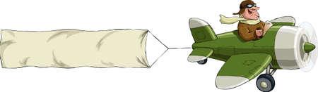 Plane Pilot: Un avi�n sobre un fondo blanco, ilustraci�n vectorial