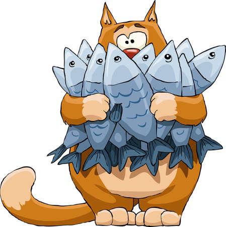 cartoon poes: Kat met een vis op een witte achtergrond, vector