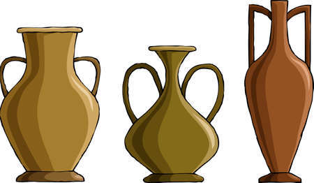 earthenware: Three amphora on a white background, vector