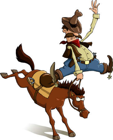 Horse throws off a cowboy, vector illustration Vector