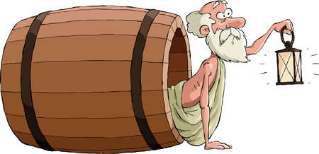 Diogenes kijkt uit het vat