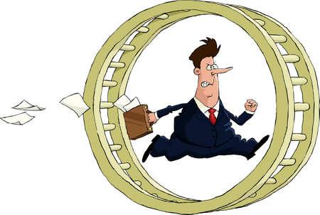 runs: A man runs in the wheel