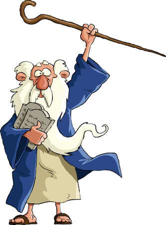 Mozes op een witte achtergrond Vector Illustratie