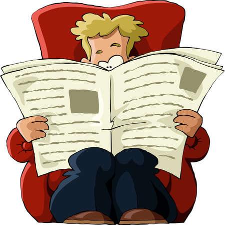 butacas: Un hombre en una silla para leer un peri�dico Vectores