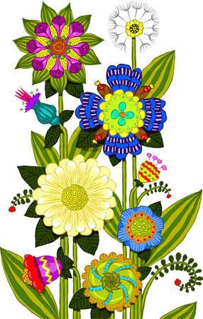vegetate: Flowers on a white background, vector illustration