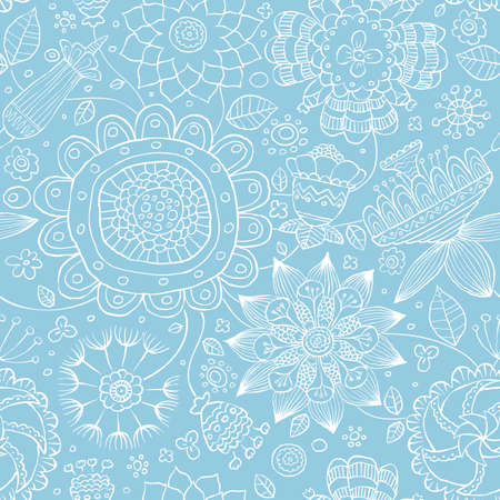 Seamless floral pattern on a blue background, vector