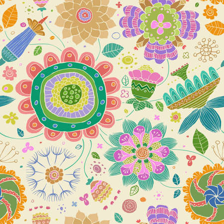 Floral seamless pattern on a white background, vector Vector
