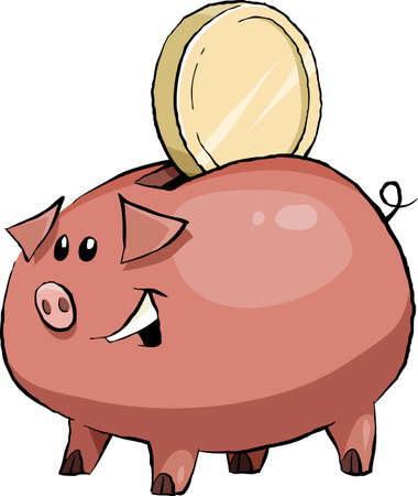Cartoon funny pig piggy bank, vector illustration Vector
