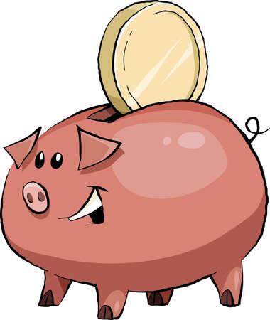 Cartoon funny pig piggy bank, vector illustration Stock Vector - 9931695