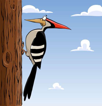 Pájaro carpintero de dibujos animados sobre un árbol, ilustración vectorial