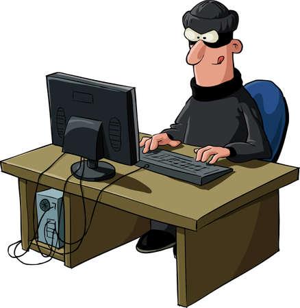 computadora caricatura: Un hacker sobre un fondo blanco, vector Vectores