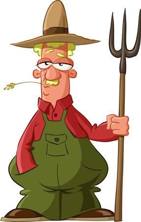 campesino: Agricultor sobre un fondo blanco, vector de ilustraci�n