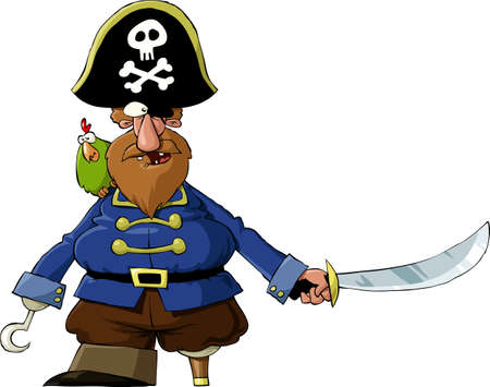 Pirate on a white background, vector illustration Ilustrace