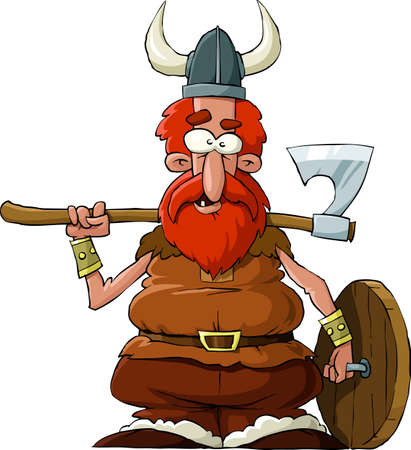 cartoon warrior: Viking su sfondo bianco, vector illustration