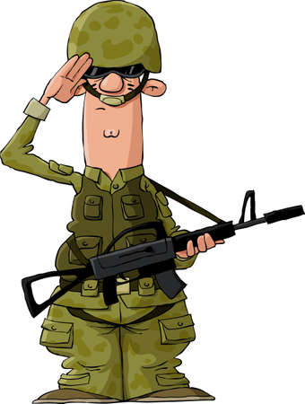 sergeant: A soldier on a white background, vector