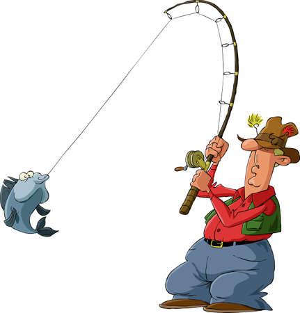 釣り: 白い背景の上の漁師