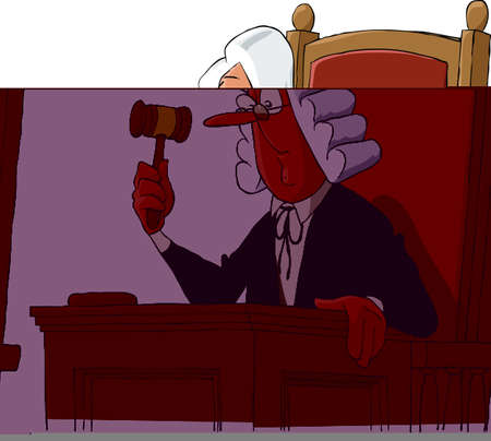 judge hammer: A judge on a white background Illustration