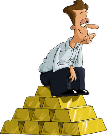 Un homme assis sur un lingot d'or, vecteur