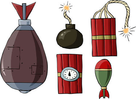 wick: Bombs on a white background, vector illustration