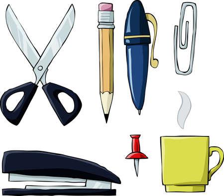 grapadora: Herramientas de Office en fondo blanco, ilustración vectorial
