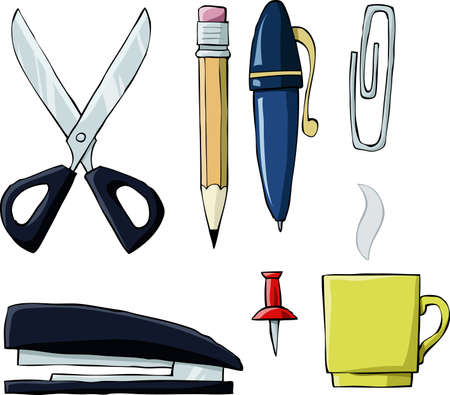 chancellery: Office tools on white background, vector illustration
