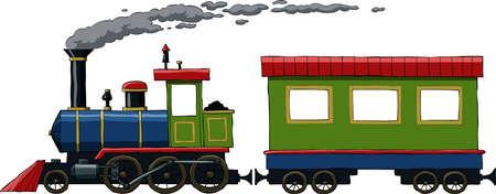 tren caricatura: Locomotora sobre un fondo blanco, ilustración vectorial