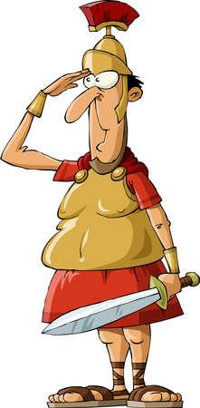 cascos romanos: Legionario en un fondo blanco, ilustración vectorial
