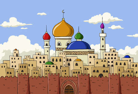 Cartoon background of Arab town Illustration