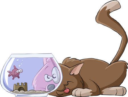 cat cartoon: The cat looks at the aquarium, vector