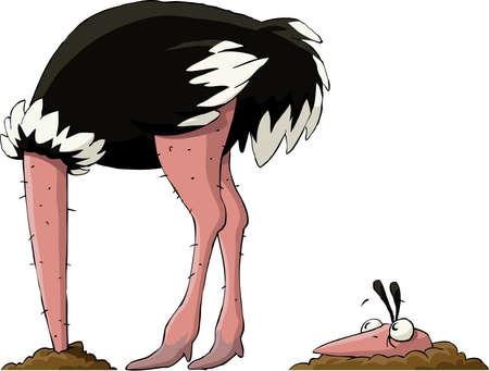 Struisvogel verbergt haar hoofd in de grond, vector Vector Illustratie