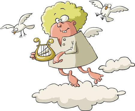 arpa: Angel con un arpa sobre un fondo blanco, vector