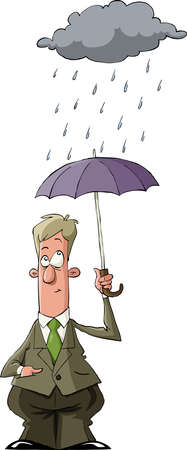 A man under an umbrella in the rain, vector Vector