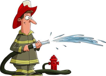 пожарный: Пожарный выливает из пожарного шланга, вектор Иллюстрация