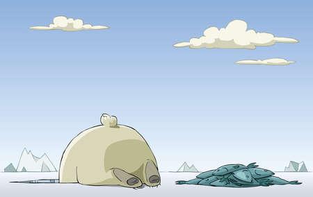 coger: Peces de las capturas de oso polar en el agujero, vector Vectores