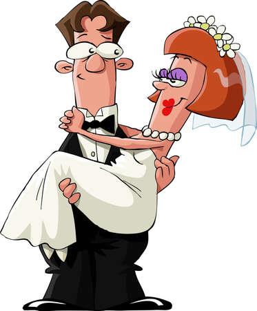 Casada con un fondo blanco, ilustración