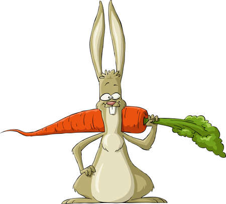 Conejo sobre un fondo blanco, ilustración Vectores
