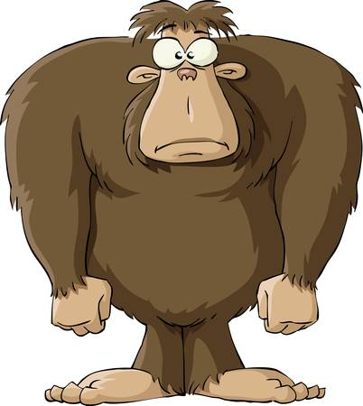 primates: Bigfoot on a white background, illustration