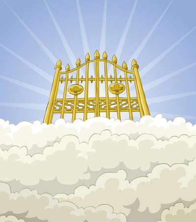 천국: 구름에있는 천국의 문 일러스트