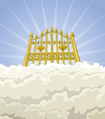 The gates of paradise in the clouds Vector