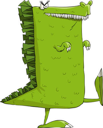 green dragon: Monster on a white background illustration