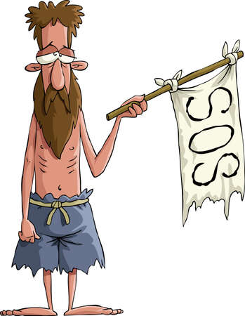 müdigkeit: Desperate Man bittet um Hilfe, Vektor-illustration