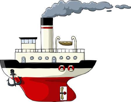 steamship: Steamer op een witte achtergrond, vector illustratie Stock Illustratie